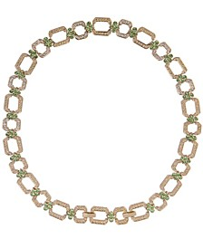 18k Gold Plated Peridot Hex Necklace