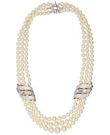 Rhodium Plated Triple Strand Wedding Necklace