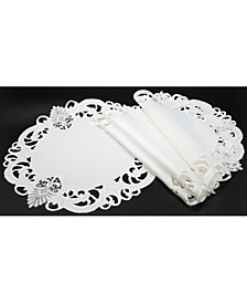 Delicate Lace Embroidered Cutwork Round Placemats - Set of 4