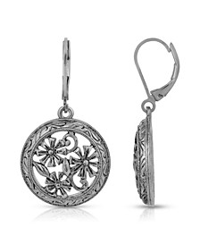 Silver-Tone Round Floral Drop Earrings