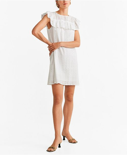 MANGO Ruffled Open-Work Dress