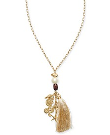"INC Gold-Tone Imitation Pearl, Wood, Multi-Shell & Tassel Pendant Necklace, 32"" + 3"" extender, Created for Macy's"