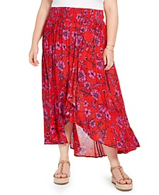 Trendy Plus Size Floral-Print Wrap-Front Skirt