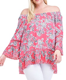 Plus Size Floral-Print Lace-Trim Top