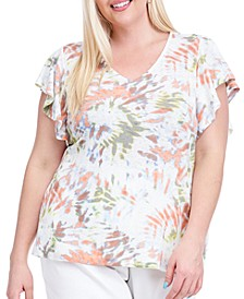 Plus Size Tie-Dyed Flutter-Sleeve Top