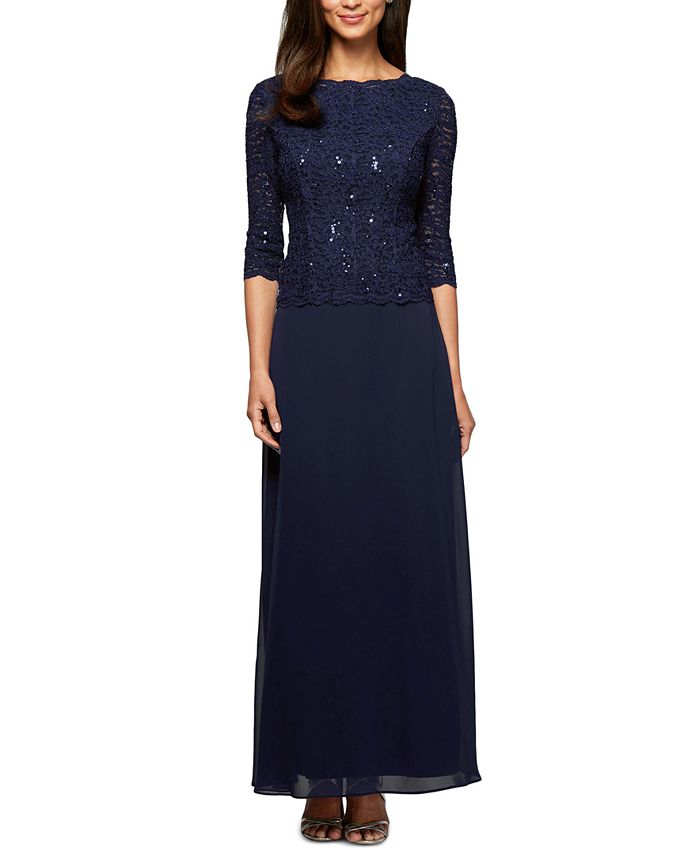 Alex Evenings - Dress, Sequined Lace Gown