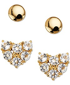 2-Pc. Set Crystal Heart Stud Earrings