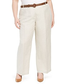 Plus Size Belted Wide-Leg Linen Pants