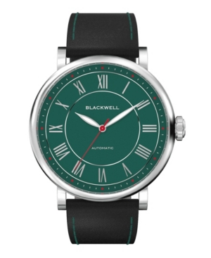 Green Dial with Silver Tone Steel and Black Leather Watch 44 mm