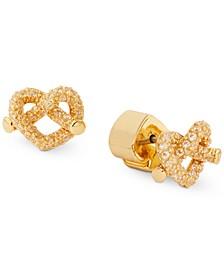 Gold-Tone Pavé Heart Knot Stud Earrings