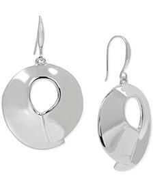 Silver-Tone Sculptural Open Disc Drop Earrings