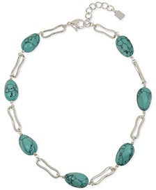 """Silver-Tone Link & Stone Collar Necklace, 18"""" + 2"""" extender"""