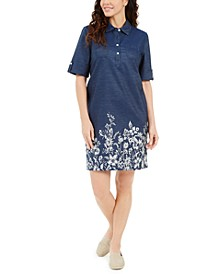 Petite Cotton Wildflower Shirtdress, Created for Macy's