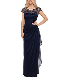 Embellished-Neck Gown