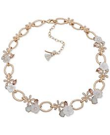 "Gold-Tone Pavé Flower & Link Collar Necklace, 16"" + 3"" extender"
