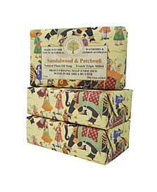 Sandalwood and Patchouli Soap with Pack of 3, Each 7 oz