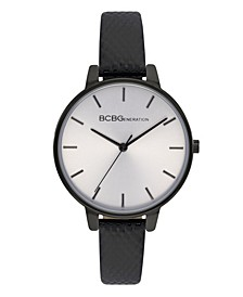 Ladies 3 Hands Slim Black Genuine Leather Strap Watch, 36 mm Case