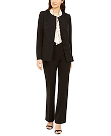 Button-Front Jacket, Embellished Tie-Front Blouse & Trousers