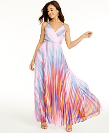 V-Neck Pleated Printed Gown