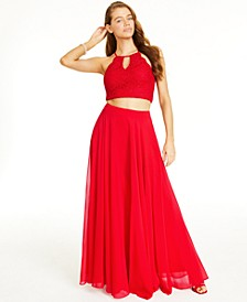 Juniors' 2-Pc. Glitter Lace Top & Chiffon Maxi Skirt