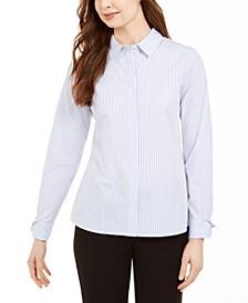 Pinstriped Cotton Button-Up Shirt