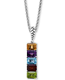 "EFFY® Multi-Gemstone (5-3/4 ct.-t.w.) 18"" Pendant Necklace in Sterling Silver"