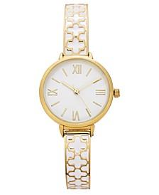 Women's Gold-Tone & White Enamel Bangle Bracelet Watch 30mm