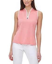 Contrast-Trim Zip-Neck Top