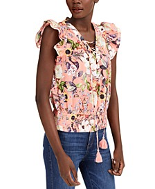 INC Cotton Floral-Print Lace-Up Ruffle-Sleeve Blouse, Created for Macy's
