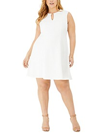 Plus Size Keyhole Textured Knit Dress