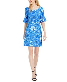 Tropical-Print Ruffled Bell-Sleeve Dress