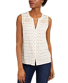 Sleeveless Printed Split-Neck Top