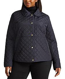 Lauren Ralph Lauren Plus Size Faux-Leather-Trim Quilted Jacket