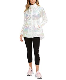 Iridescent High-Low Hooded Jacket