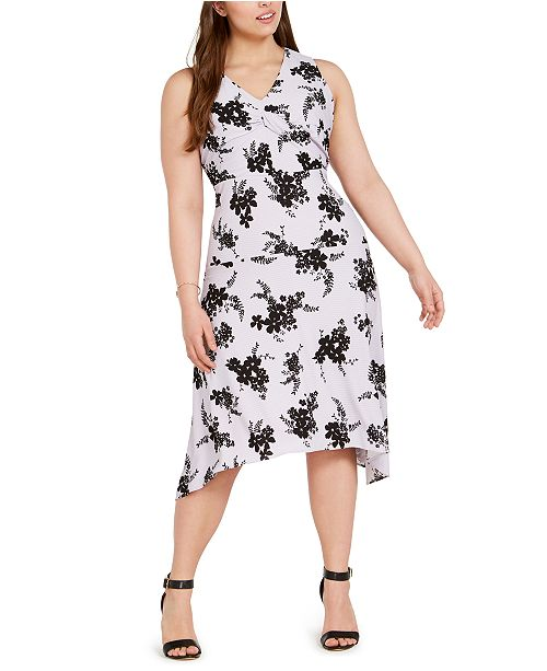 Michael Kors Plus Size Floral-Print Handkerchief-Hem Dress