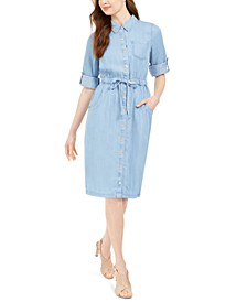 Roll-Tab Denim Shirtdress