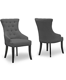 Set of 2 Alei Fabric Dining Chair Wing Chair with Tufted Buttons