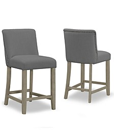 Set of 2 Aleco Fabric Counter Stool with Metal Nail Head Accents