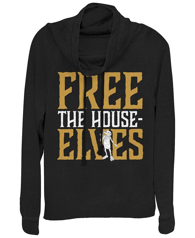 Fifth Sun Harry Potter Dobby Free The House-Elves Cowl Neck Women's Pullover Fleece