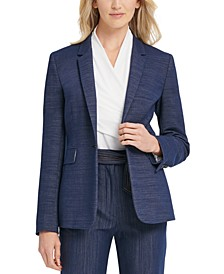 One-Button Knit Denim Blazer