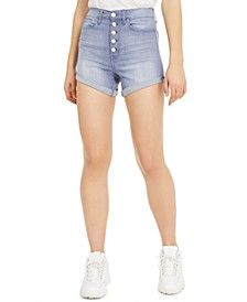 Juniors' Curvy-Fit Cuffed Denim Shorts