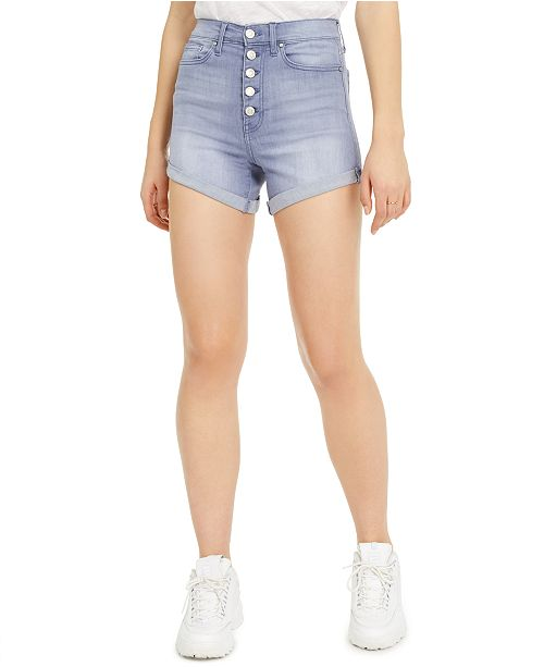 Celebrity Pink Juniors' Curvy-Fit Cuffed Denim Shorts