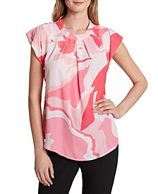 Printed Pleated-Front Blouse