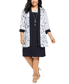 Plus Size Dress & Floral-Print Jacket