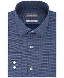 Men's Classic/Regular-Fit Non-Iron Airsoft Performance Stretch Navy Blue Geo-Print Dress Shirt