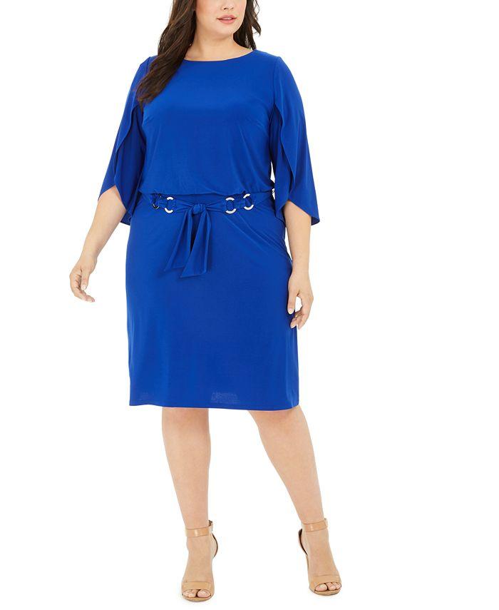 MSK - Plus Size Belted Tulip-Sleeve Dress