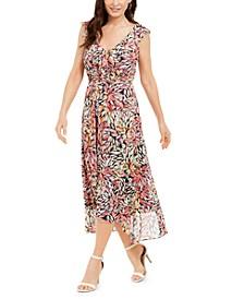 Petite Floral-Print Mesh Maxi Dress