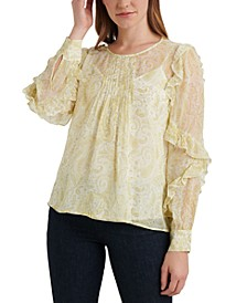 Georgette Ruffle-Sleeve Pleated Top