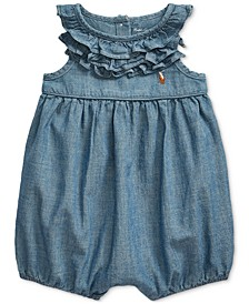 Baby Girls Cotton Chambray Bubble Shortall