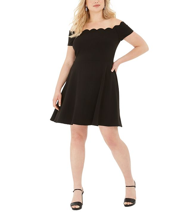 B Darlin Trendy Plus Size Scalloped Off-The-Shoulder A-Line Dress